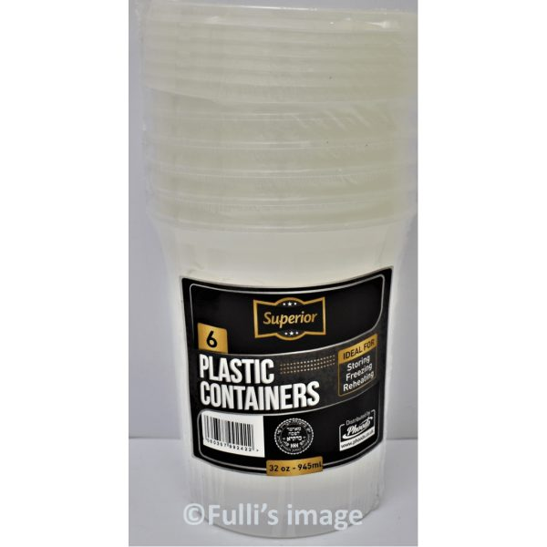 Superior Container Packed 32OZ Round CLEAR Plastic  12 X 6