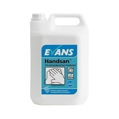 Evans Handsan 70% Alcohol Based Hand Disinfectant 5LTR