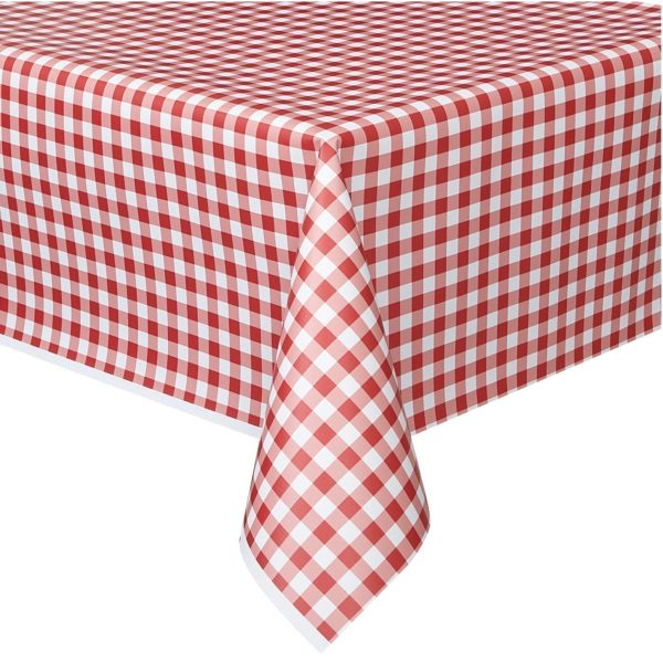 Gingham Pattern Table Cloth RED 54x108''