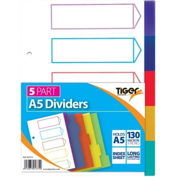 5 Part PP Dividers A5