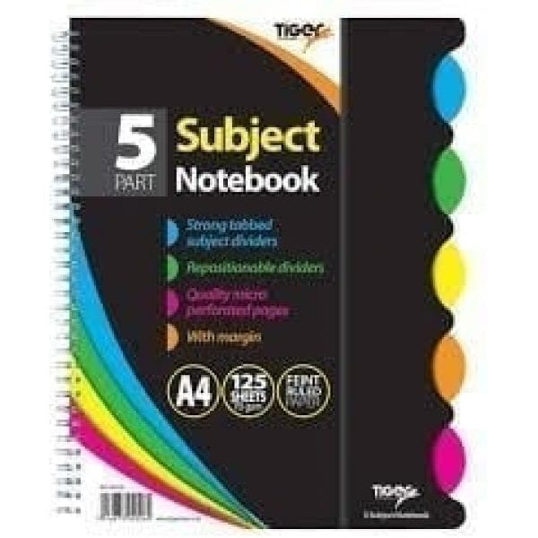 Tiger Subject Twinwire Notebook BLACK Cover A4