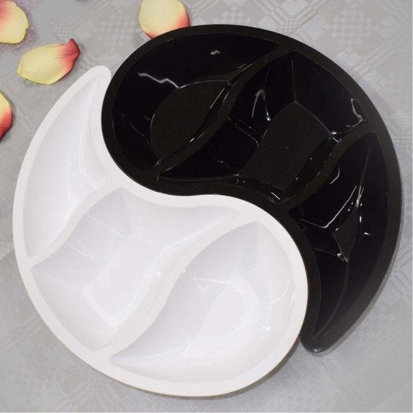 Mashers 2-Piece, 3 compartment  Serving tray BLACK & WHITE Plastic X 20