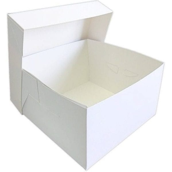 Stapleless Cake Box With Separate Lid WHITE 10''  X 12