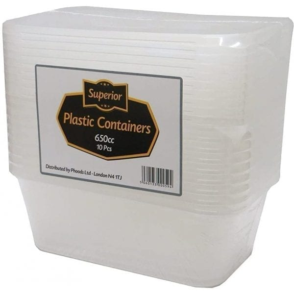 Superior Plastic Containers Packed 650CC Rectangular Clear 10 X 12