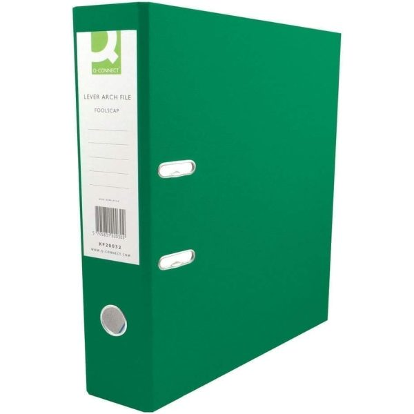 Q-Connect Lever Arch File GREEN A4 Paperbacked X 10