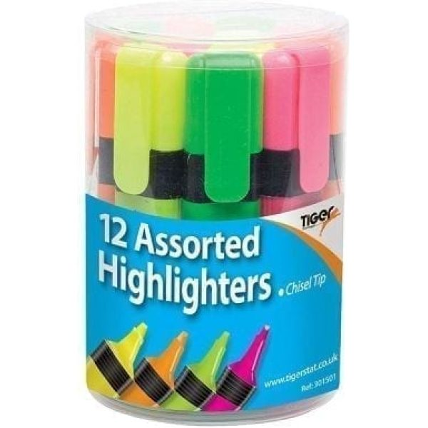 Highlighters Tub Assorted X 12