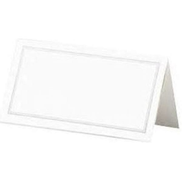 Place Cards WHITE With SILVER Border X 12