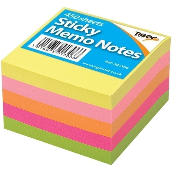Neon Sticky Memo Notes 3x3'' 450 Sheets X 12