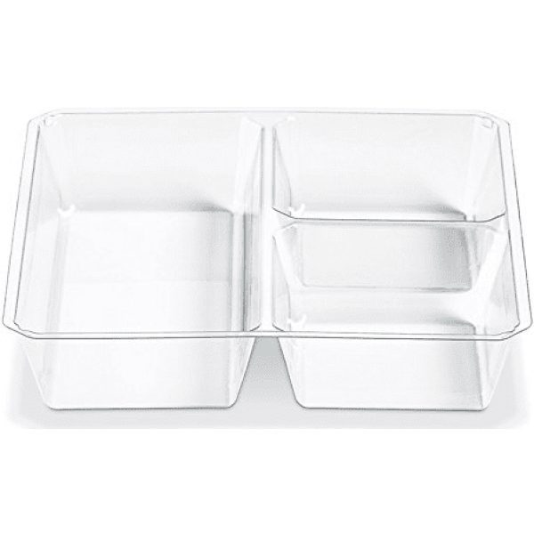 Plastic 3 Compartment Insert Go Cubes Clear X  600