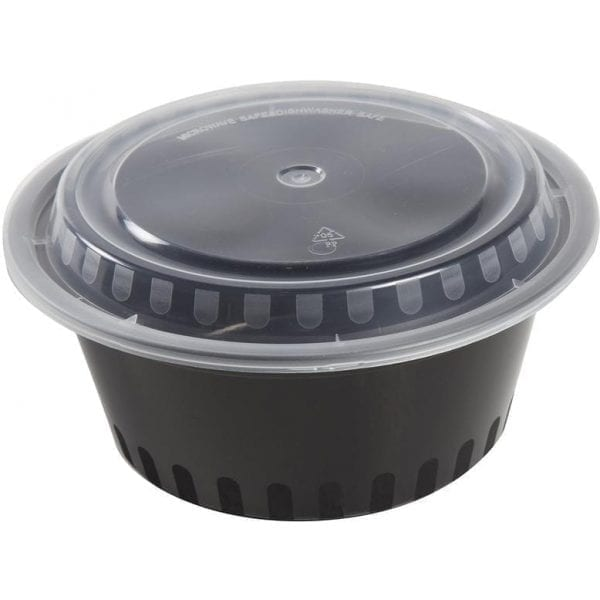 Superior Plastic Containers Packed 38OZ BLACK With Clear Lids 1080ML 14 X 5