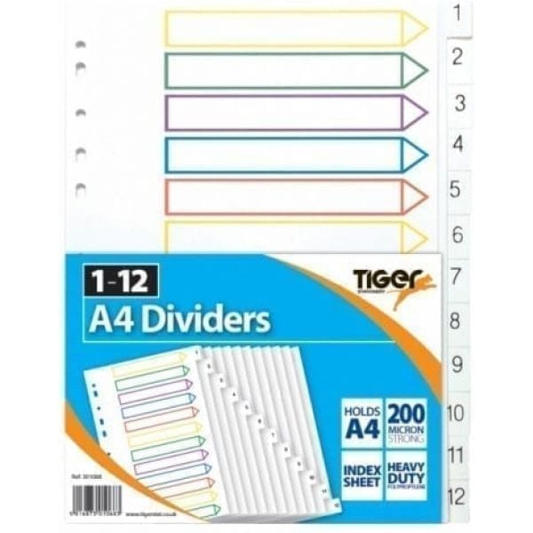 PP Dividers A4 1-12