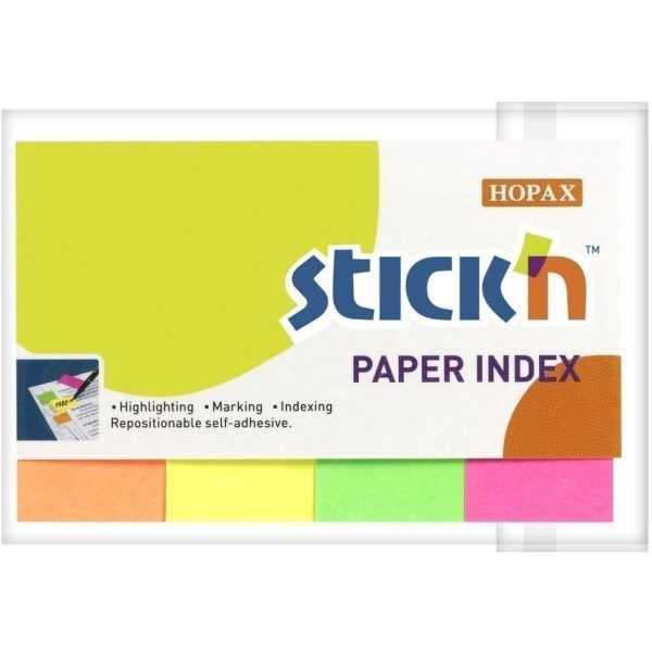 Value Stick'N 50 x 20MM NEON Paper Indexes Assorted X 200