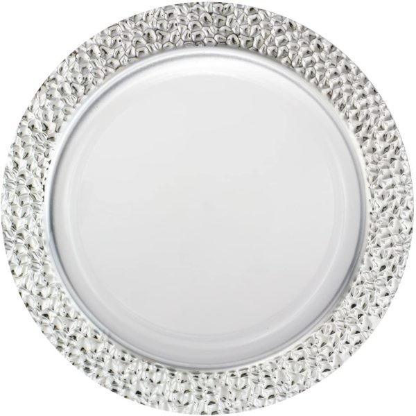 Silver Touch Hammered Collection Plates SILVER/WHITE 10.25''  Plates