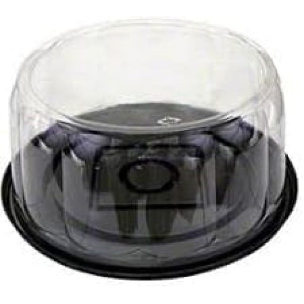 9'' Cake Dome Black Bases with Clear Lids X 50
