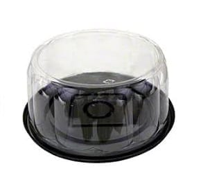 9″ Cake Dome Black Bases with Clear Lids X 50