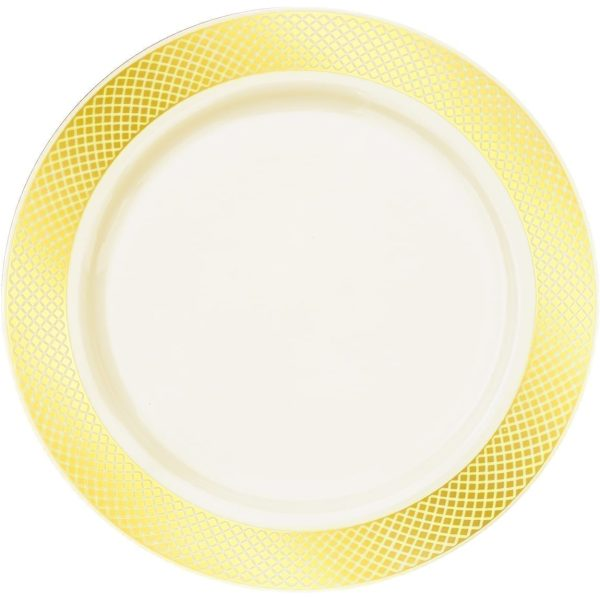 Majestic Settings Aristocrat Collection Elegant  Disposable Plates WHITE / GOLD 10""
