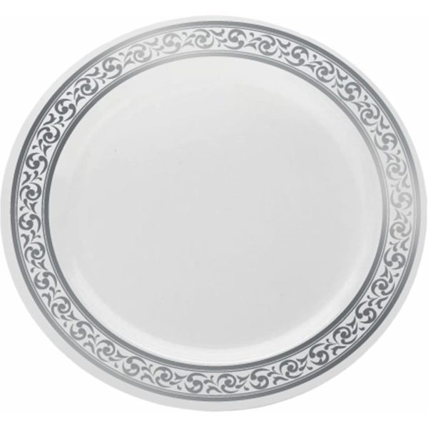 """Dinner Plates Sphere Collection WHITE/SILVER 9"""" 12 X 10 3675"""