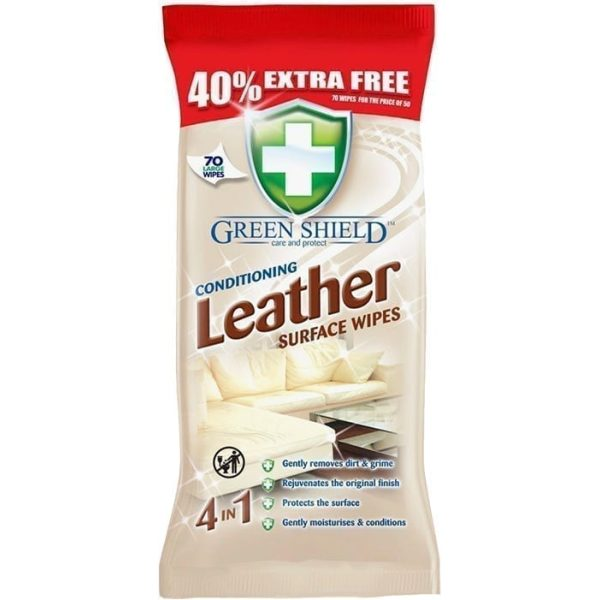 Green Shield Conditioning Leather Surface Wipes 70 Wipes