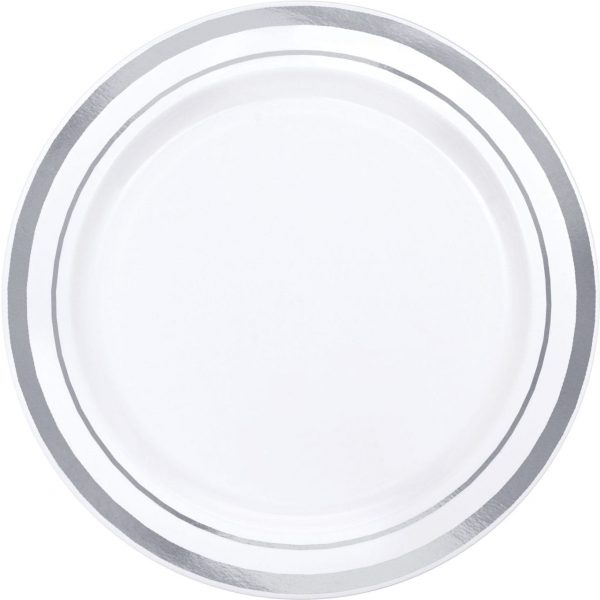 Imperial Collection Plates WHITE/SILVER 6''
