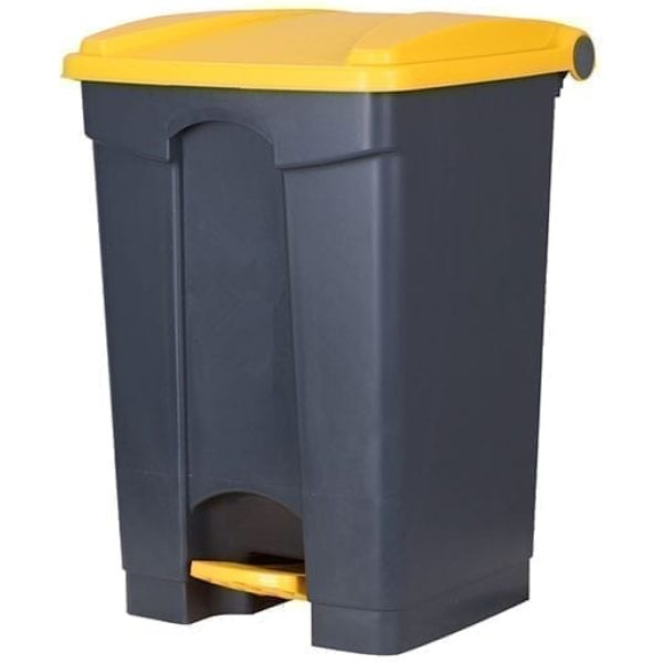 Waste Pedal Bin YELLOW and GREY 45LTR